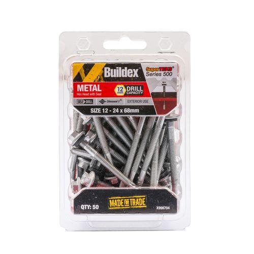 Buildex 12 - 24 x 68mm SuperTEKS Series 500 Hex Head Metal Screw - 50 Pack