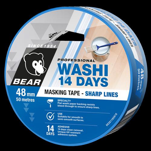 Bear 48mm x 50m Blue 14 Day Washi Tape
