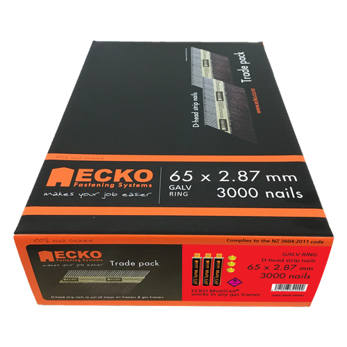 ECKO65 x 2.87mm D Head Galvanised Ring Framing Nails Gas Pack - 3000 Pack