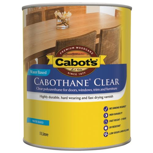 Cabot's 1L Water Based Gloss Cabothane Clear Polyurethane Timber Varnish