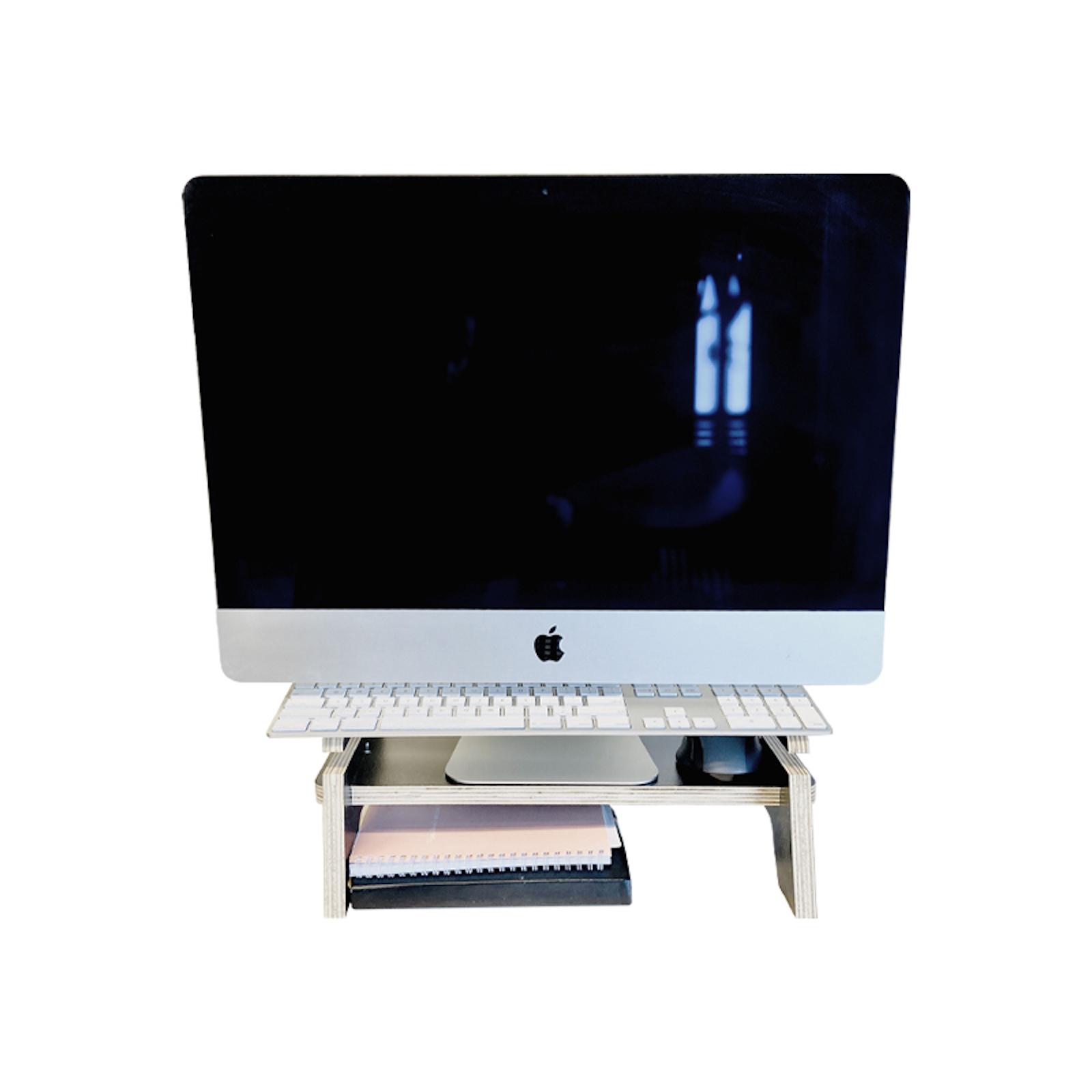 IA Essentials Black Adjustable Monitor Stand