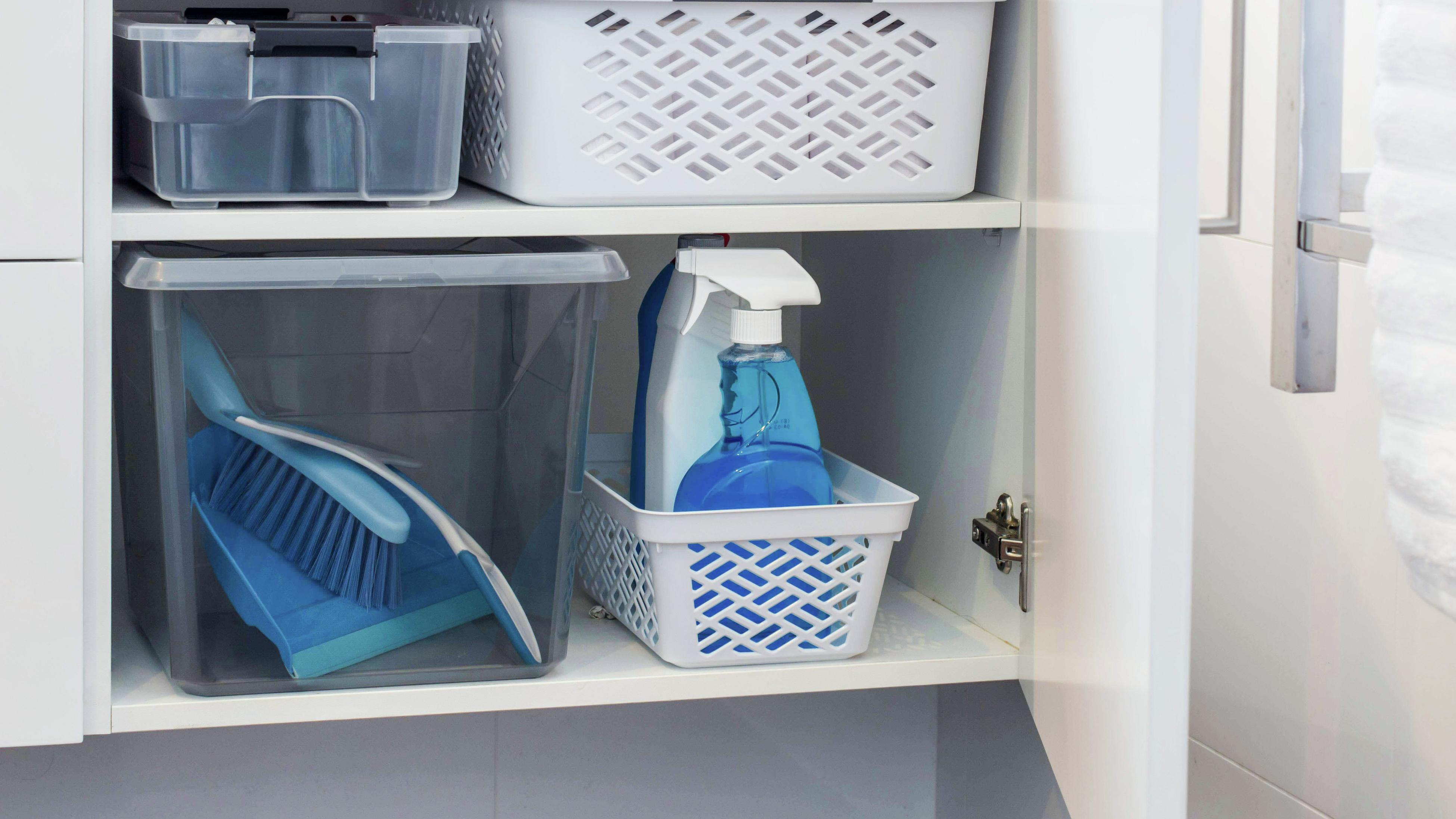 Storage baskets and cleaning products in bathroom vanity unit cupboard.