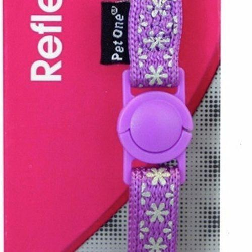 Cat Collar Purple Snow Nylon Reflective - 15cm-22.5cm x 10mm (Pet One)