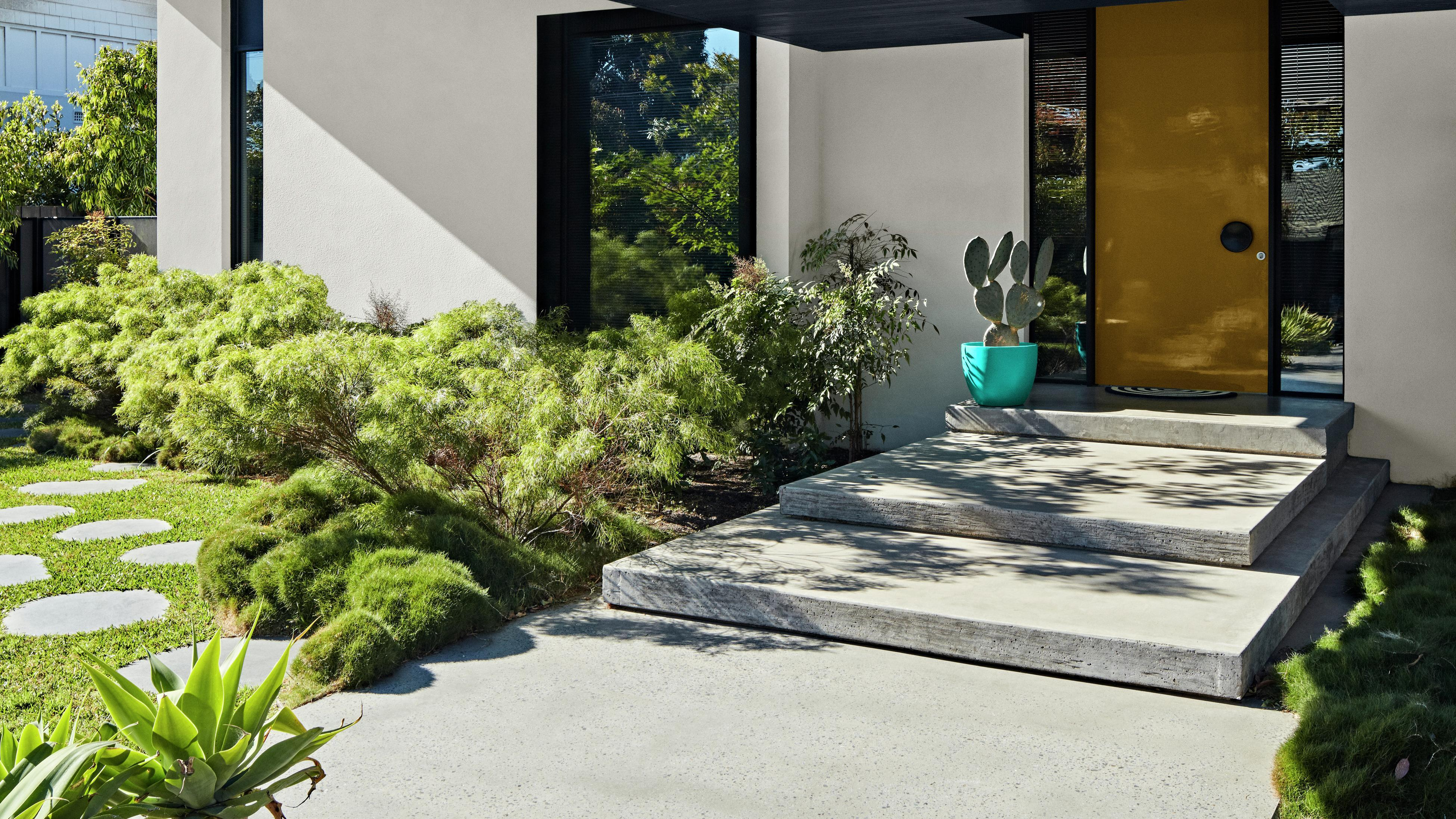 Outside of a modern home with plants in front.
