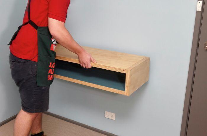 DIY Step Image - How to make a D.I.Y. timber floating wall desk . Blob storage upload.