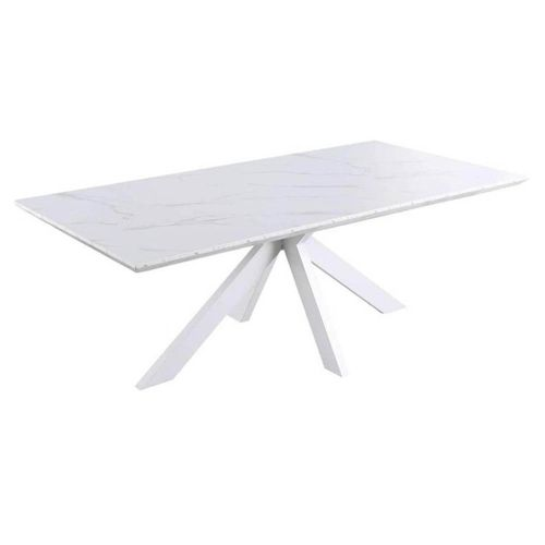 Layla Rectangular Dining Table Marble Effect 210cm White Metal Frame White Amara Bunnings Australia