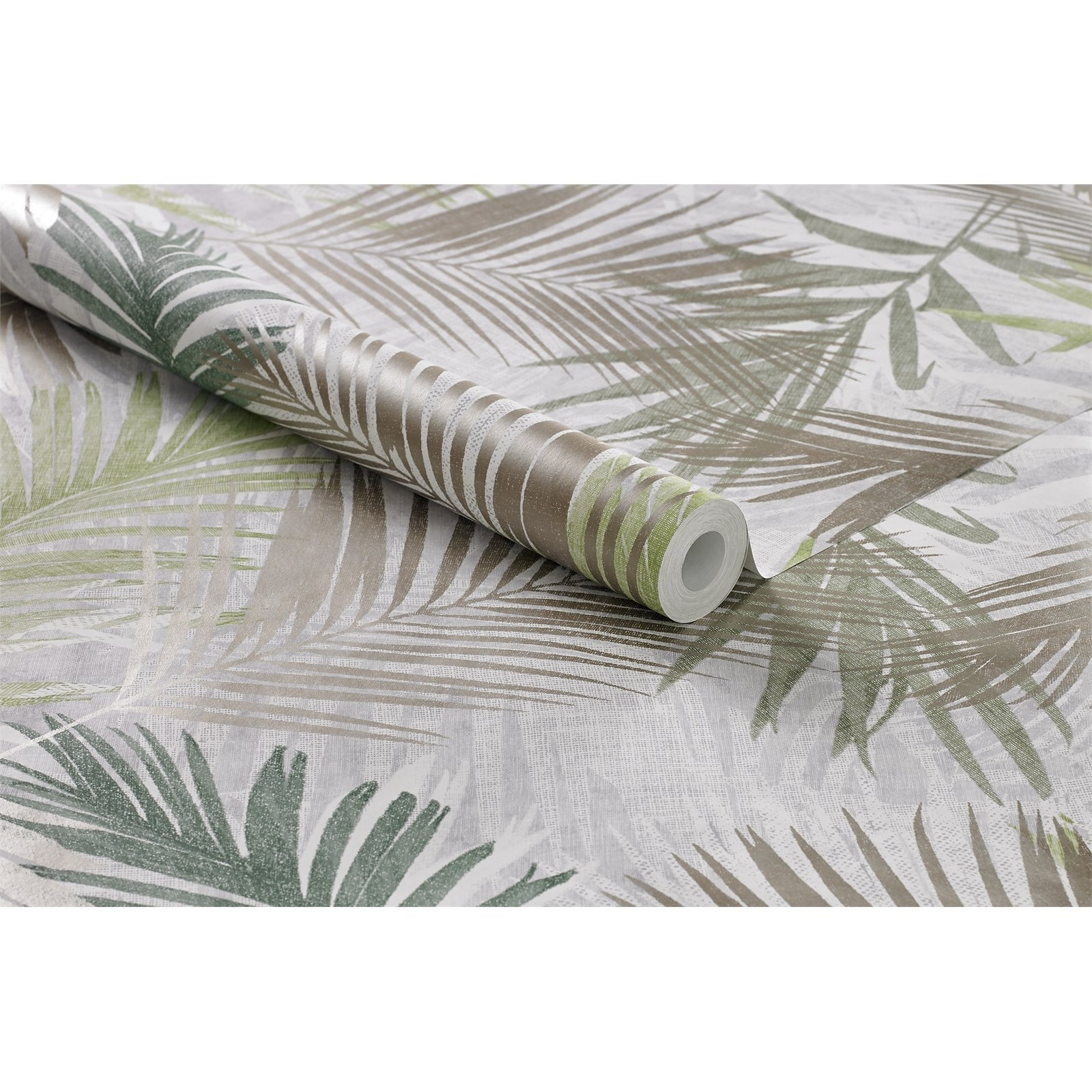 Boutique 52cm x 10m White / Gold / Green NWG Jungle Glam Wallpaper