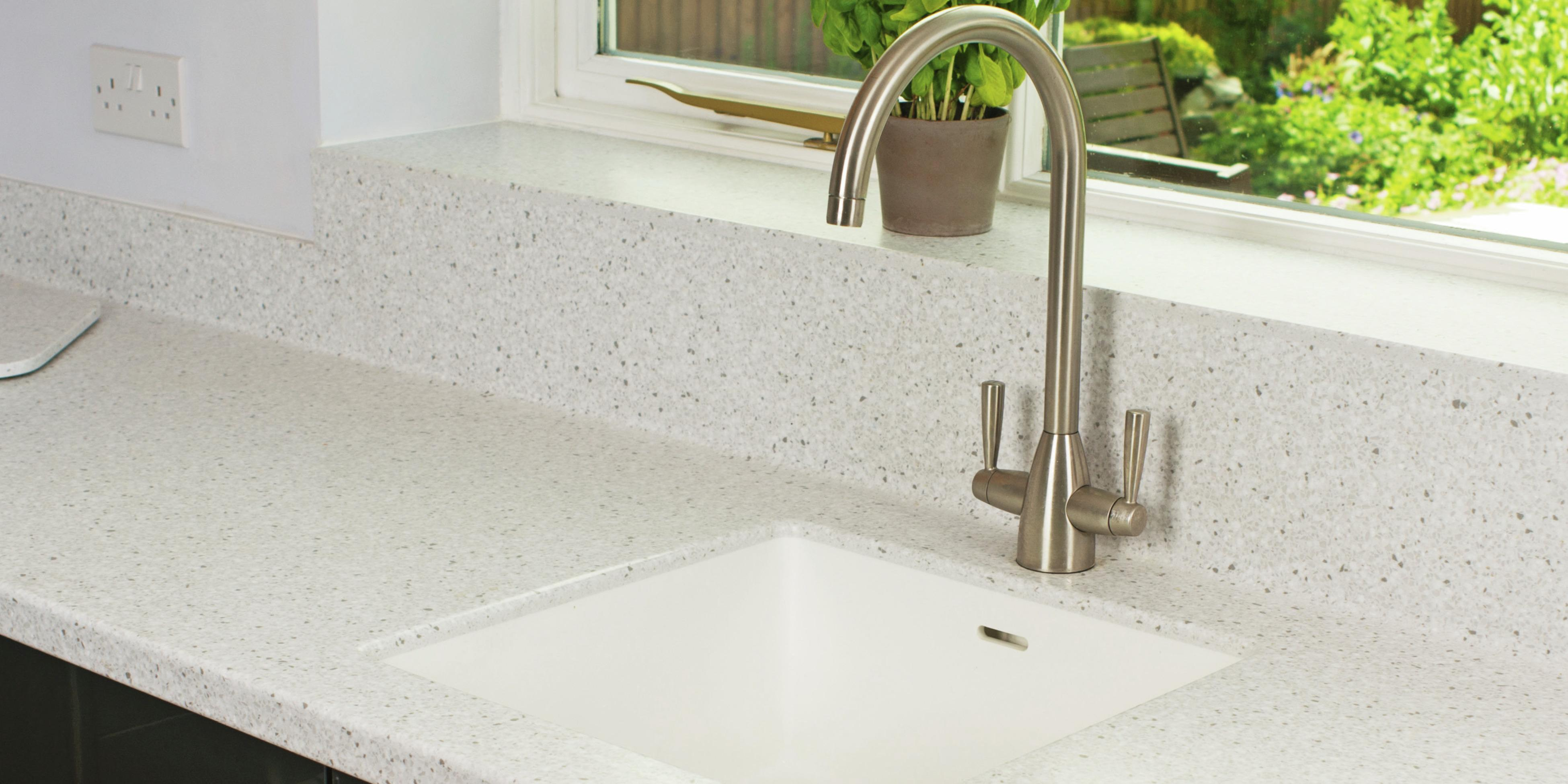 Stone kitchen benchtop with under-mounted sink