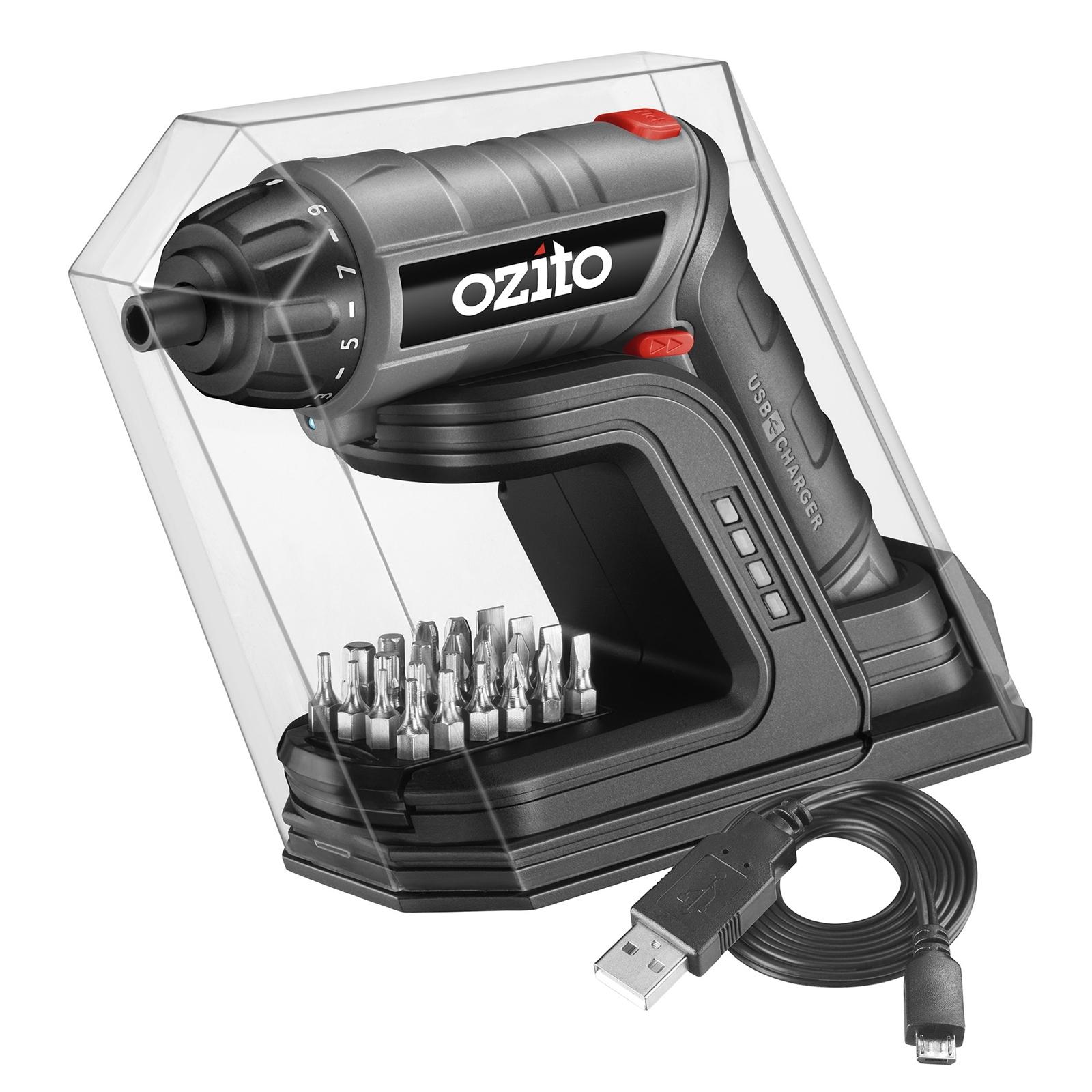 Ozito 3.6V Cordless Screwdriver With USB Changing Base