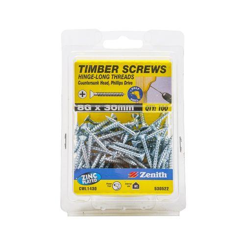 Zenith 8G x 30mm Zinc Plated Hinge-Long Thread Countersunk Head Timber Screws - 100 Pack