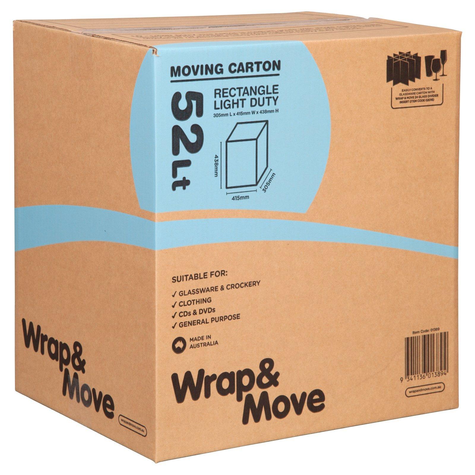 Wrap & Move 52Lt Light Duty Rectangle Moving Carton