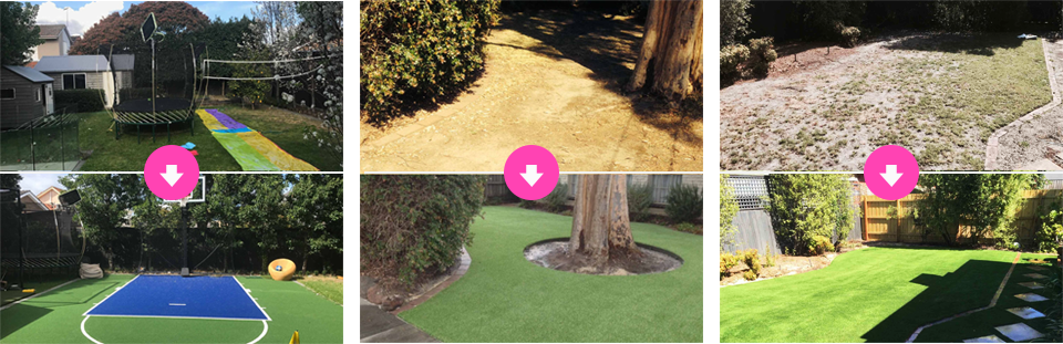 Before and after shots of garden with new synthetic turf