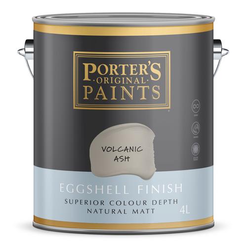 Porter's 4L Volcanic Ash Eggshell Finish Broadwall Washable Paint