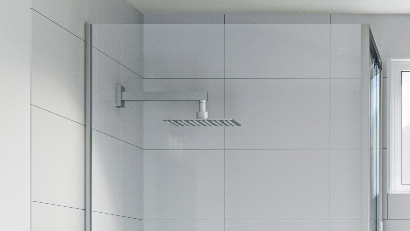 Wall-mounted showerhead.