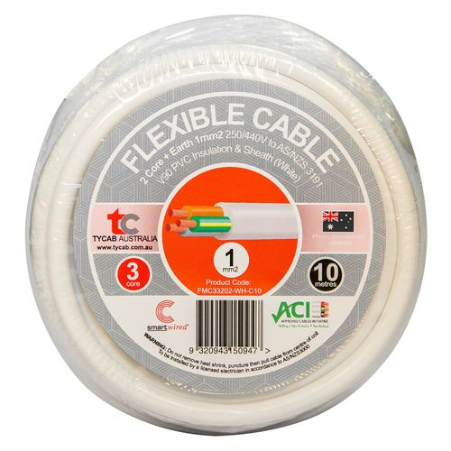 Tycab Cables 1mm² x 10m White 2 Core And Earth V90 Flexible Cable
