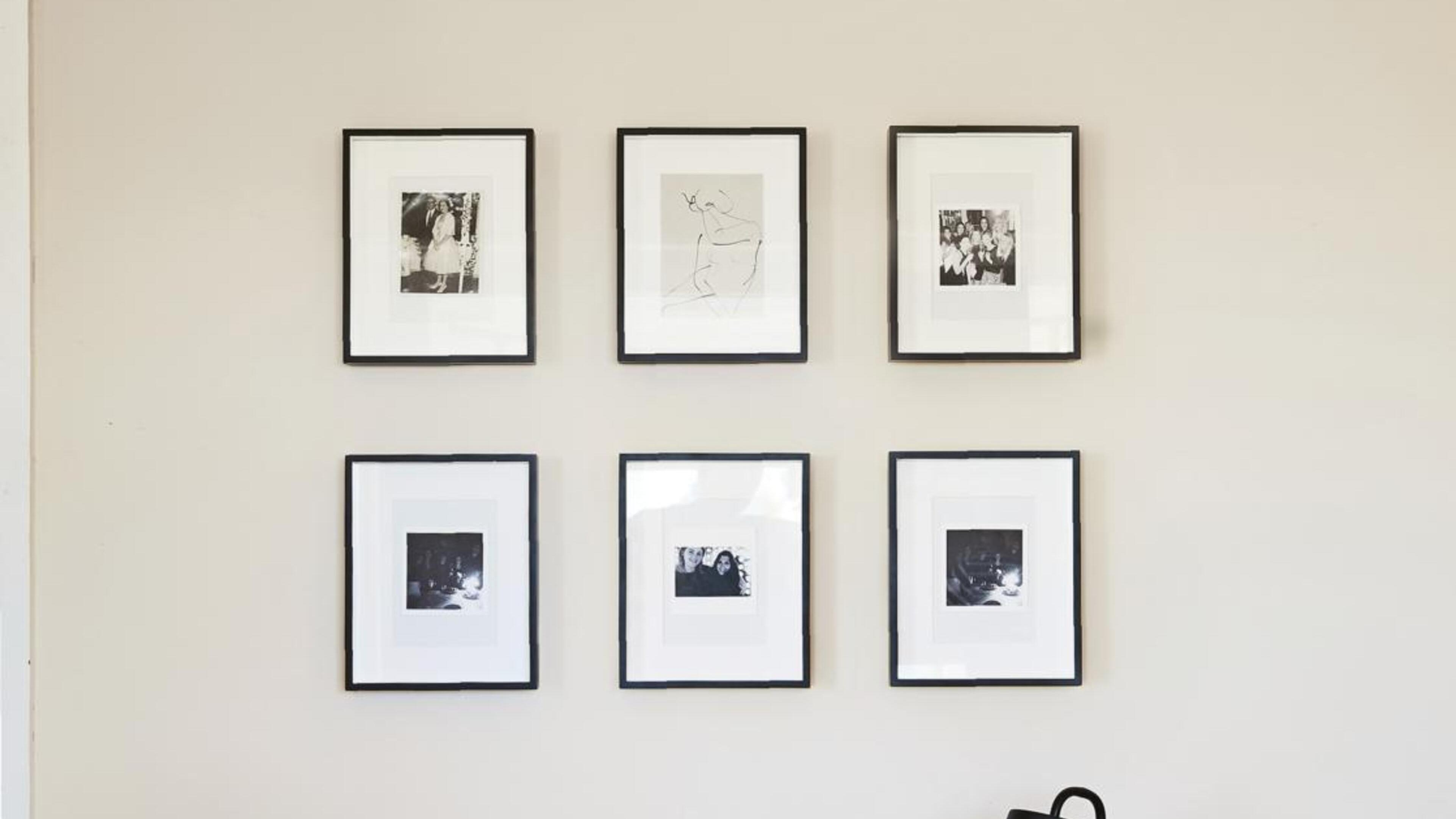 Six picture frames hanging on the wall