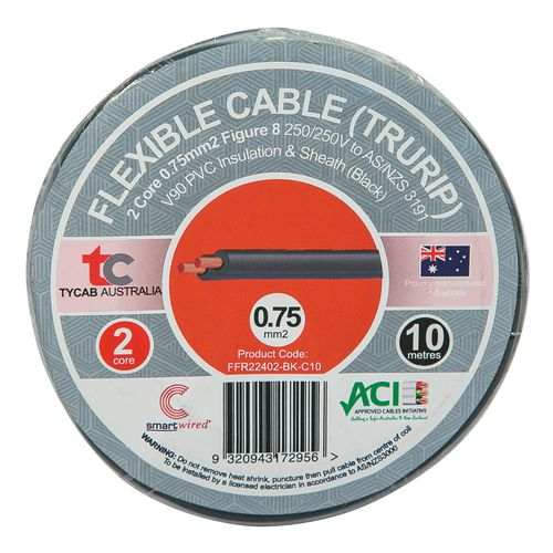 Tycab Cables 0.75mm² x 10m Black 2 Core V90 Flexi Cable