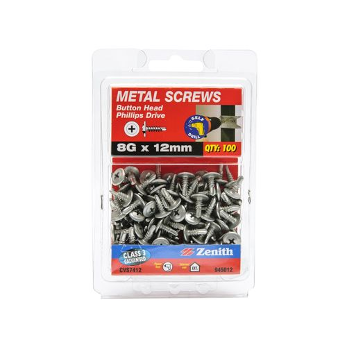 Zenith 8G x 12mm Galvanised Button Head Metal Screws - 100 Pack
