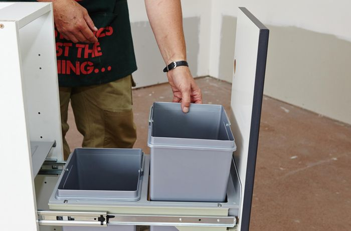 DIY Step Image - How to install a pull-out rubbish bin . Blob storage upload.