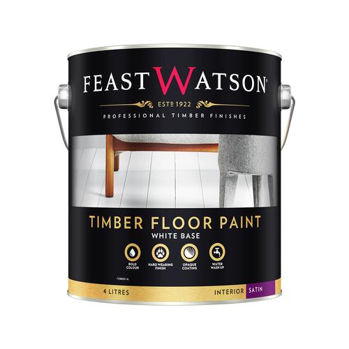 Feast Watson 4L Satin White Timber Floor Paint