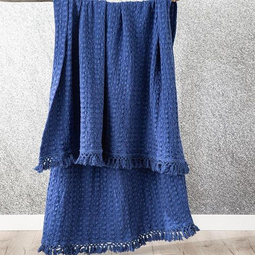 Renee Taylor Alysian Washed Cotton Textured Royal Throw