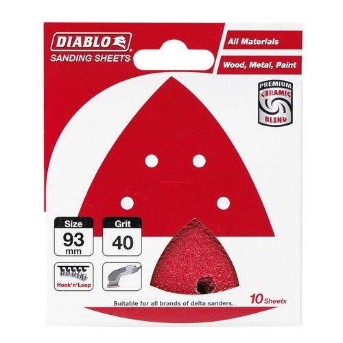Diablo 93 x 93mm 40 Grit Abrasive All Surface Detail Sander Sheets - 10 Pack