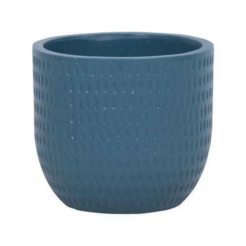 Lotus 23.5 x 21cm Navy Large Dotty Ceramic Egg Pot