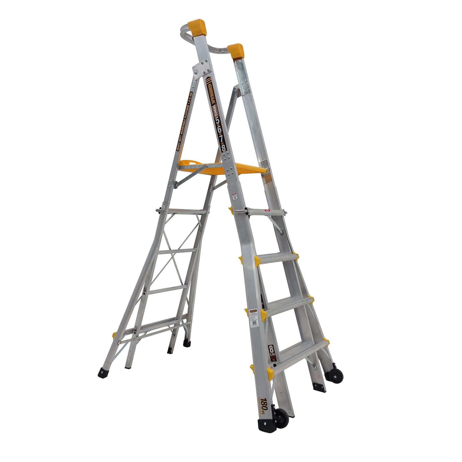 Gorilla 1.5-2.4m Heavy Duty Adjustable Aluminium Platform Ladder PL0508-HD