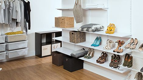 Wal-in wardrobe with floating shelving and hanging space