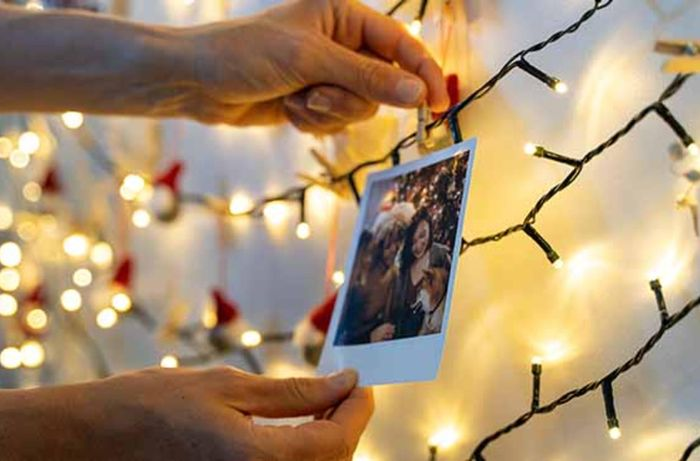 Attaching a card to fairy lights