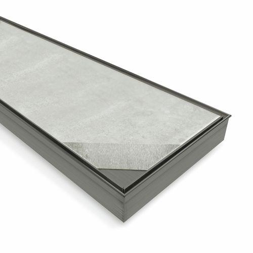 Forme 900 × 100mm Brushed Gun Metal Grey PVD Stainless Steel Tile Insert Floor Waste