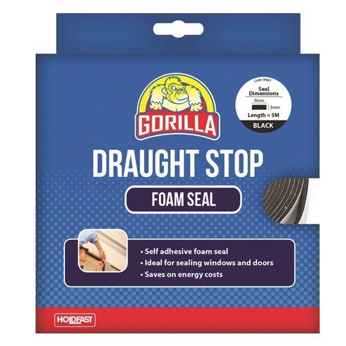 Gorilla 9mm x 3mm x 5m Black Draughts Stop Foam