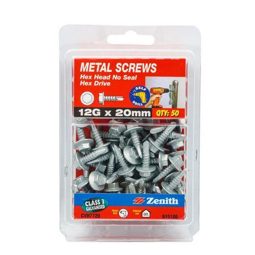 Zenith 12G x 20mm Galvanised Hex Head Metal Screws - 50 Pack