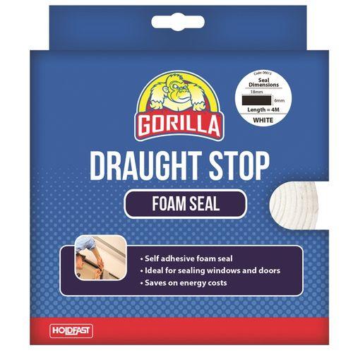 Gorilla 18mm x 6mm x 4m White Draughts Stop Foam