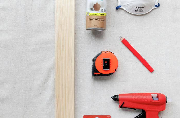 Tools and materials needed to make a photo display.
