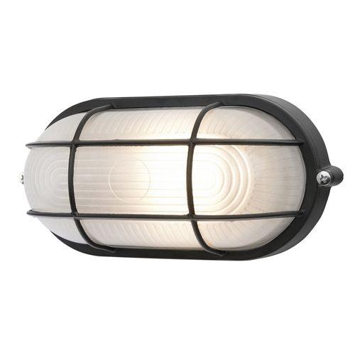Brilliant 7.5W Black Davis Oval Caged LED Bunker Light