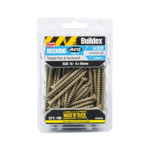 Buildex 10-8 x 65mm Climacoat Treated Pine And Hardwood Decking Screws - 100 Pack