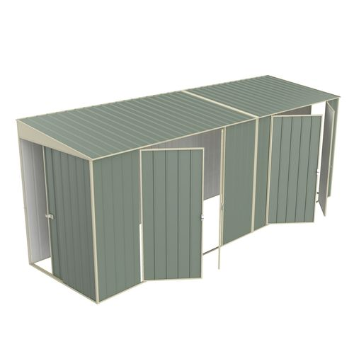 Build-a-Shed 1.5 x 5.2 x 2.0m Tunnel Shed Tunnel Sliding Door Plus Dual Double Hinged Side Doors - Green