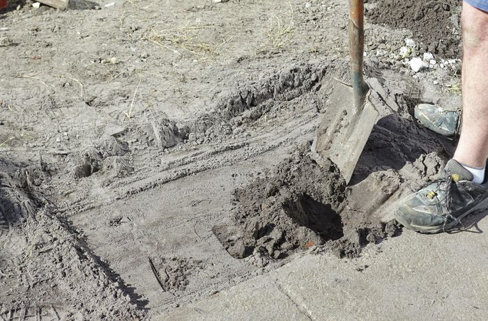 Footings being dug out for a brick letterbox