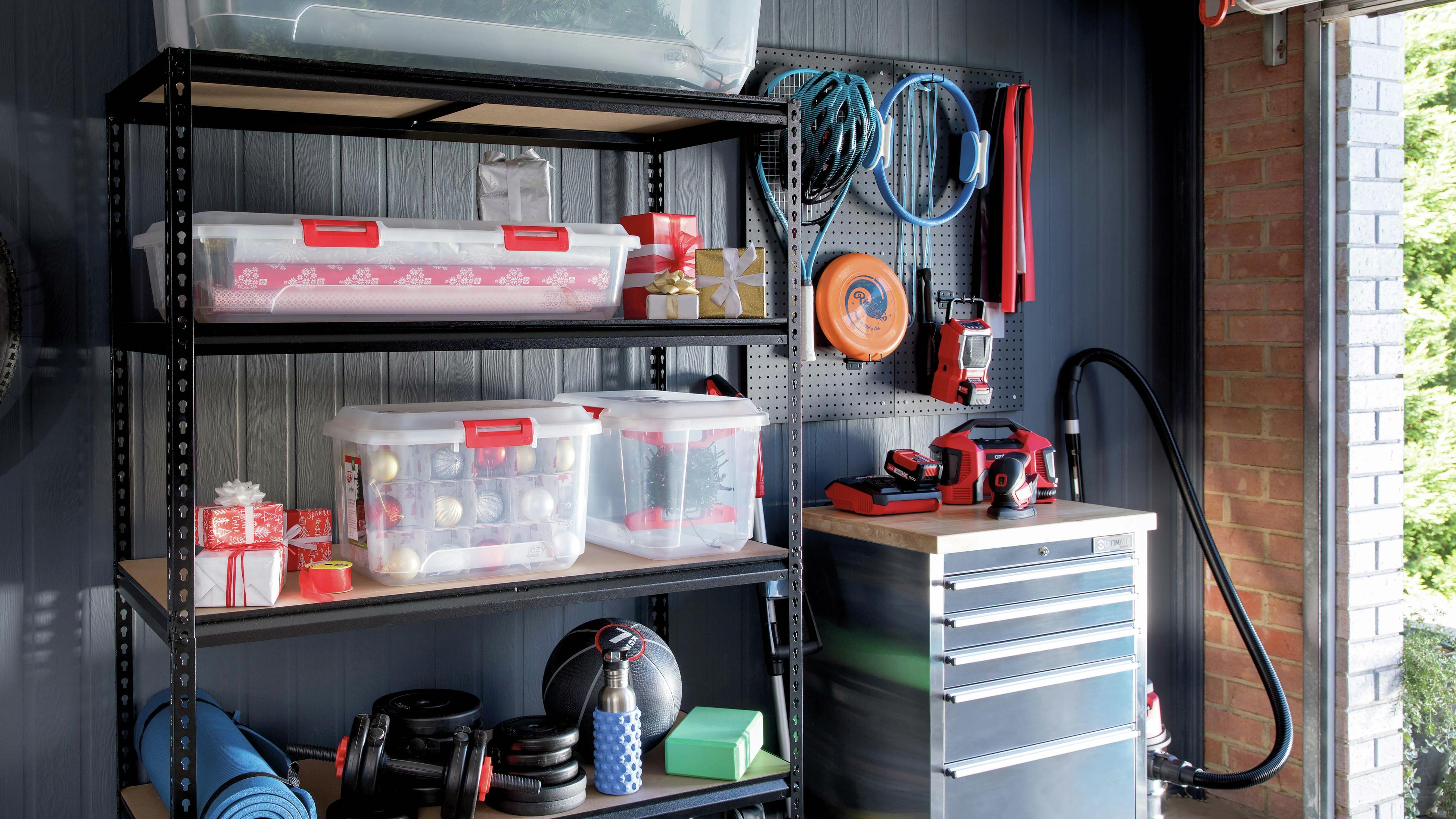 Plastic storage boxes on garage shelving unit