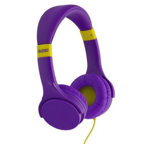 Moki Lil' Kids Volume Limited On Ear Headphones/Headband w/3.5mm Jack Purple 3y+