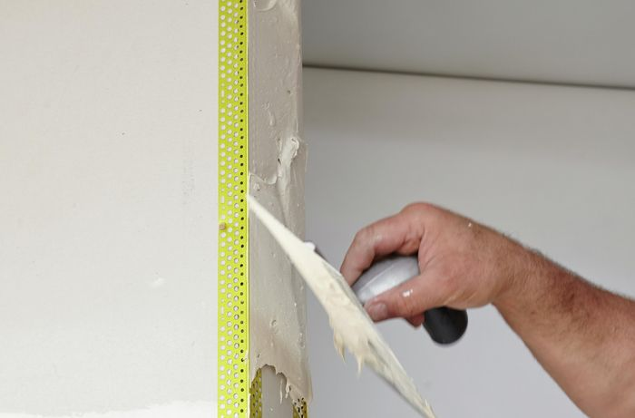 DIY Step Image - How to attach and plaster an external angle . Blob storage upload.