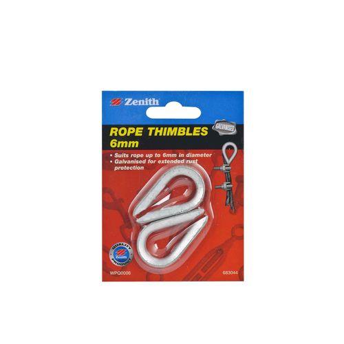 Zenith 6mm Galvanised Rope Thimble - 2 Pack