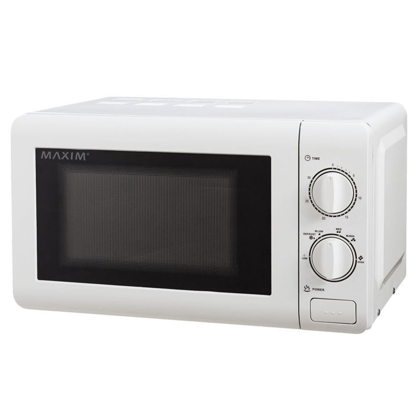 Maxim 20L 700W Countertop Manual Timer Electric Heat/Defrost Microwave Oven WHT