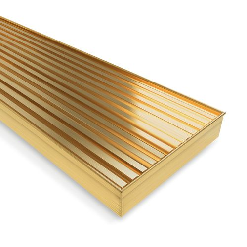 Forme 900 × 100mm Brushed Gold PVD Stainless Steel Mesh Floor Waste