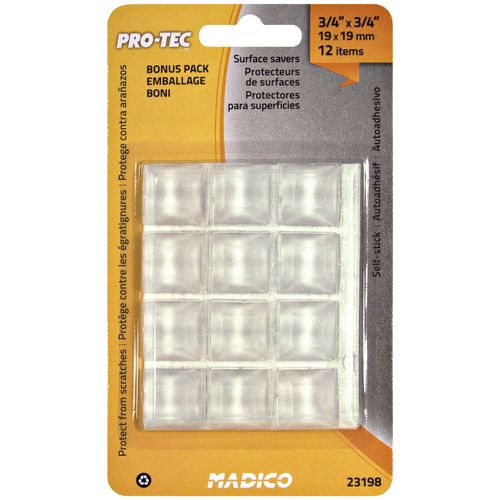Madico 19 x 19mm Clear Square Vinyl Bumper Pad Surface Protectors - 12 Pack