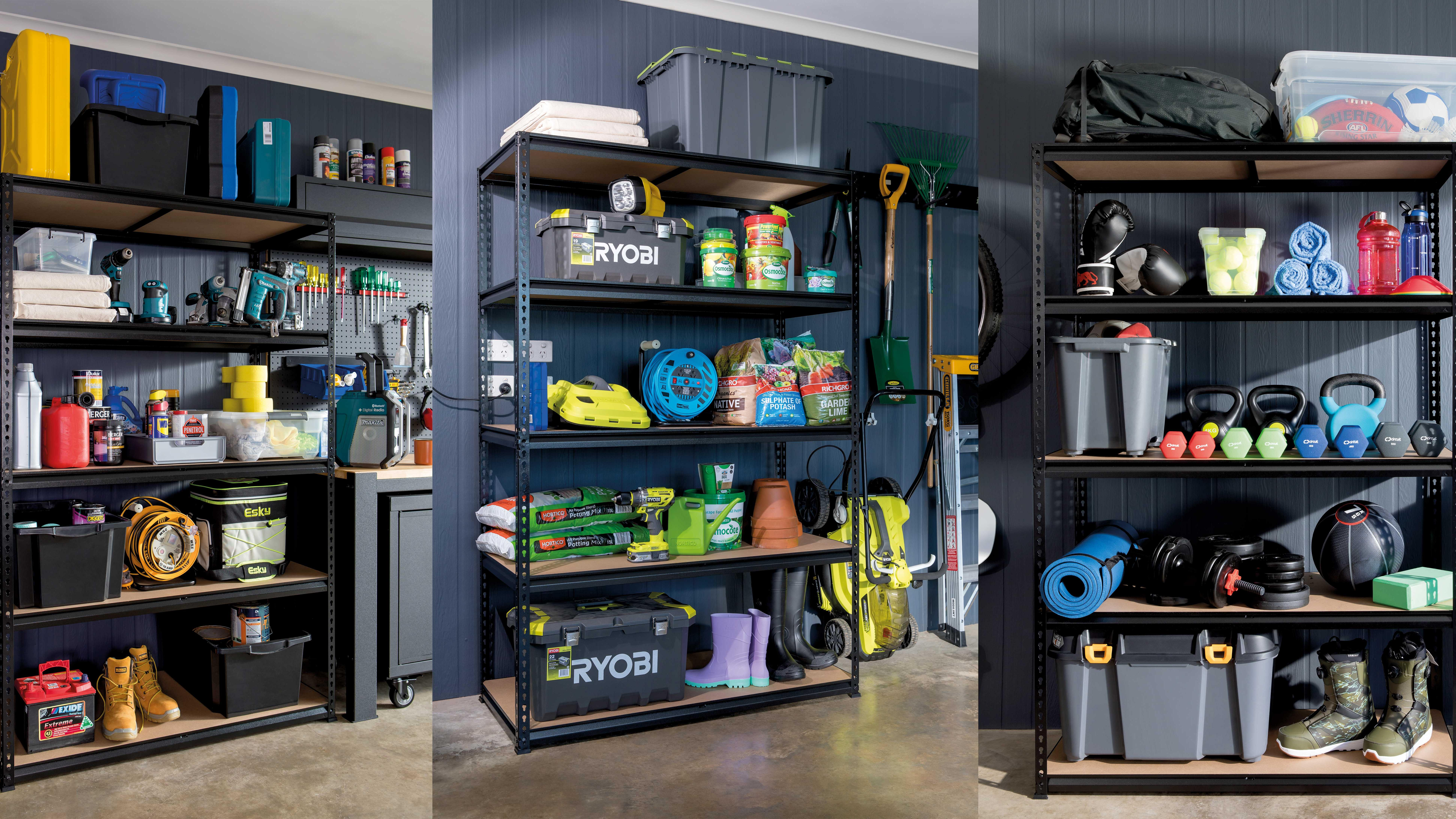 3 garage shelves with different organisations - tools, garden and sports equipment