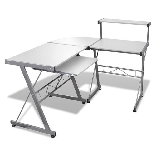 Office Computer Desk Corner Table Metal Pull-Out Keyboard Tray Top White