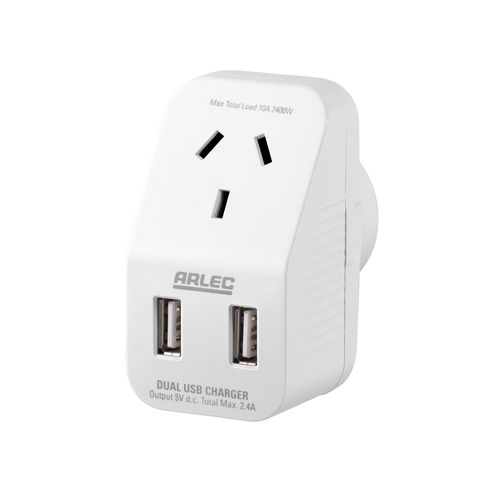 Arlec Compact Single Adaptor With Double USB Charger