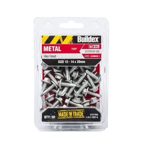 Buildex 12-14 x 20mm Climaseal Hex Head Metal Tek Screws - 50 Pack